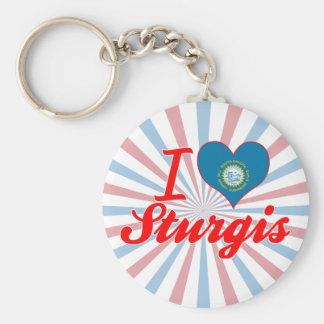 I Love Sturgis, South Dakota Basic Round Button Keychain