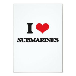 """I love Submarines 5"""" X 7"""" Invitation Card"""