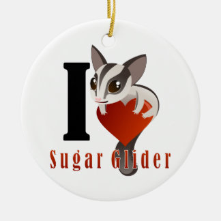 I Love Sugar Glider Ceramic Ornament