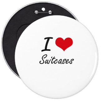 I love Suitcases 6 Inch Round Button
