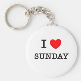 I Love Sunday Basic Round Button Keychain