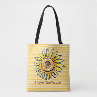 I love Sunflower and Summer with yellow Stripes Tote Bag
