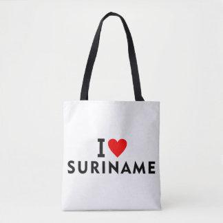 I love Suriname country like heart travel tourism Tote Bag