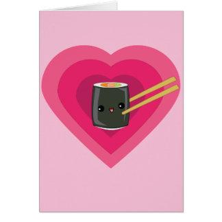 I Love Sushi Kawaii Sushi Roll Note Card