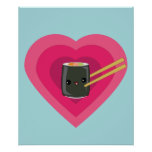 I Love Sushi Kawaii Sushi Roll poster