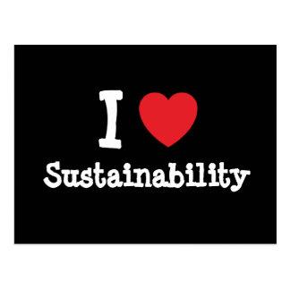 I love Sustainability heart custom personalized Post Card