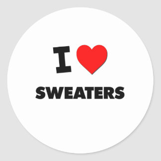 I love Sweaters Classic Round Sticker