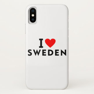 I love Sweden country like heart travel tourism iPhone X Case