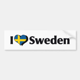 I Love Sweden Flag Bumper Sticker