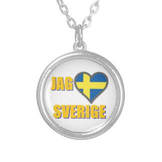 I Love Sweden (Jag Älskar Sverige) Silver Plated Necklace