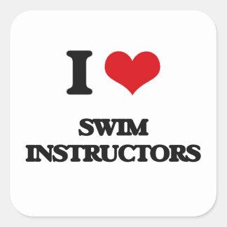 I love Swim Instructors Square Sticker