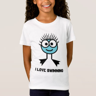 I Love Swimming - Blue Swim Character T-Shirt