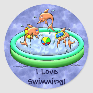 I Love Swimming! Classic Round Sticker