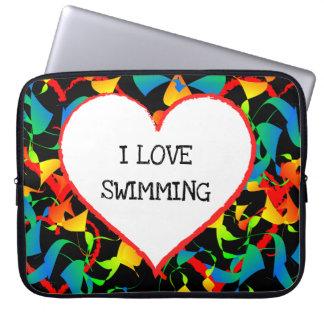 I Love Swimming Editable Modern Abstract Laptop Sleeve