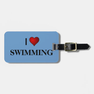I LOVE SWIMMING LUGGAGE TAG