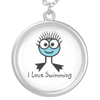 I Love Swimming - Pale Blue Swim Character Necklac Silver Plated Necklace