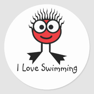 I Love Swimming - Red CharacterStickers Classic Round Sticker