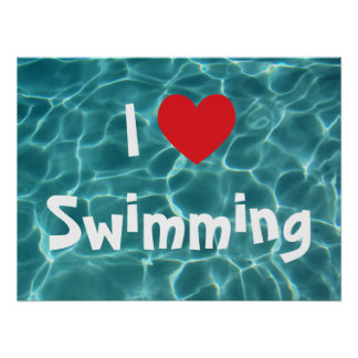 I Love Swimming Red Heart with Aqua Pool Water Posters