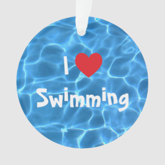 I Love Swimming Red Heart with Blue Pool Water