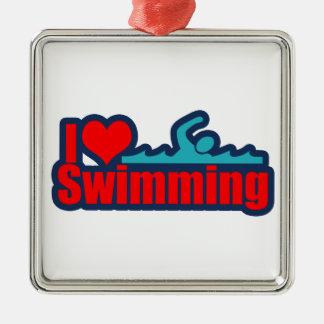 I Love Swimming Silver-Colored Square Ornament