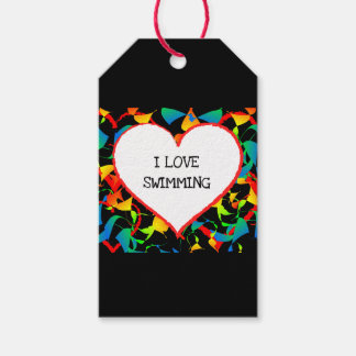 I Love Swimming Sports Editable Modern Abstract Gift Tags
