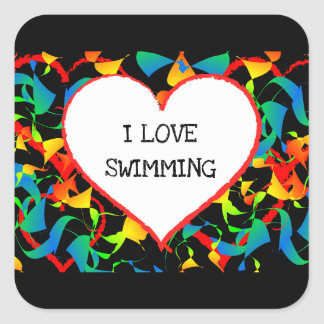 I Love Swimming Sports Editable Modern Abstract Square Sticker