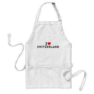I love Switzerland country like heart travel touri Standard Apron