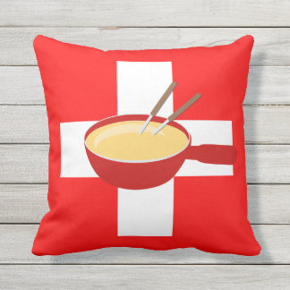 I Love Switzerland - Swiss Flag and Fondue Outdoor Pillow