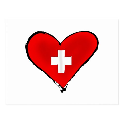 I love Switzerland Swiss flag heart design gifts Postcards
