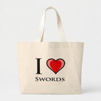 I Love Swords Large Tote Bag