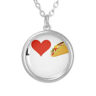 I Love Tacos For Taco Lovers Silver Plated Necklace