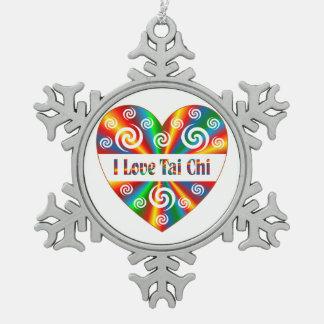 I Love Tai Chi Pewter Snowflake Ornament