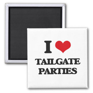 I love Tailgate Parties 2 Inch Square Magnet