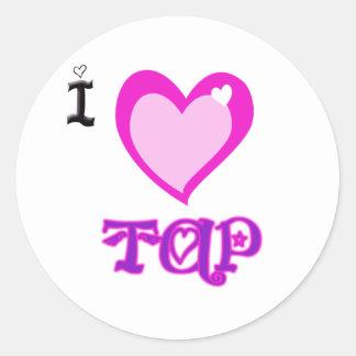 I LOVE Tap Round Sticker