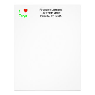 I Love Taryn Custom Letterhead