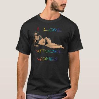 I Love Tattooed Women (Rainbow Text) T-Shirt