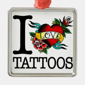 i love tattoos tattoo inked tat design Silver-Colored square ornament