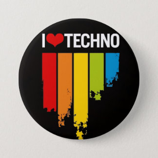 I love techno 3 inch round button