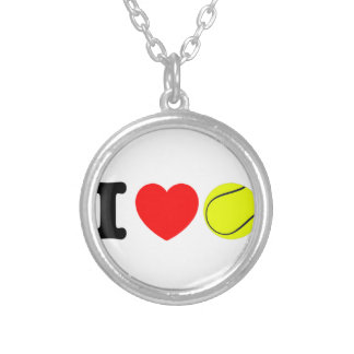 I Love Tennis Silver Plated Necklace
