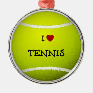 I Love Tennis - Tennis Ball Metal Ornament
