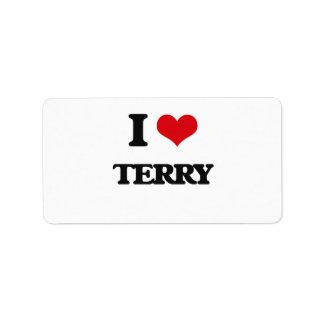 I Love Terry Address Label