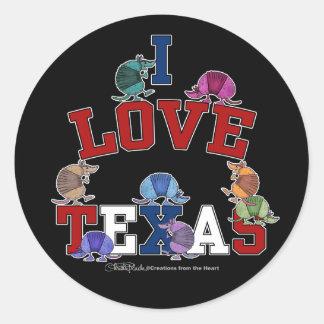 I Love Texas-Colorful Armadillos Round Sticker