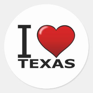 I LOVE TEXAS ROUND STICKER