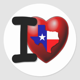 I Love Texas - The Lone Star State Classic Round Sticker