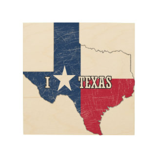 I Love Texas Wood Wall Art