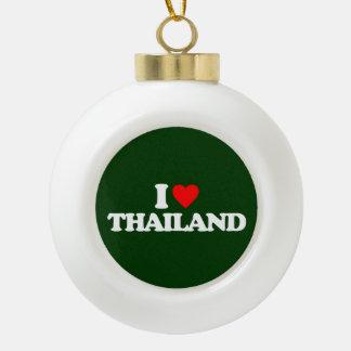 I LOVE THAILAND CERAMIC BALL CHRISTMAS ORNAMENT