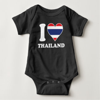 I Love Thailand Thai Flag Heart Baby Bodysuit