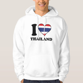 I Love Thailand Thai Flag Heart Hoodie