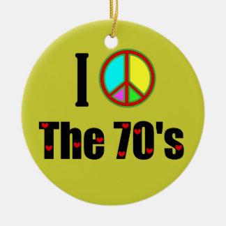 I love the 70's Peace Sign Ceramic Ornament