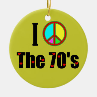 I love the 70's Peace Sign Round Ceramic Ornament